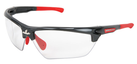 1a14f04898 MCR Safety DM1310PF Dominator™ 3 Safety Glasses (Gun Metal Color Frame)  (Red TPR) (Clear Max6™ Anti-Fog Lens Coating)