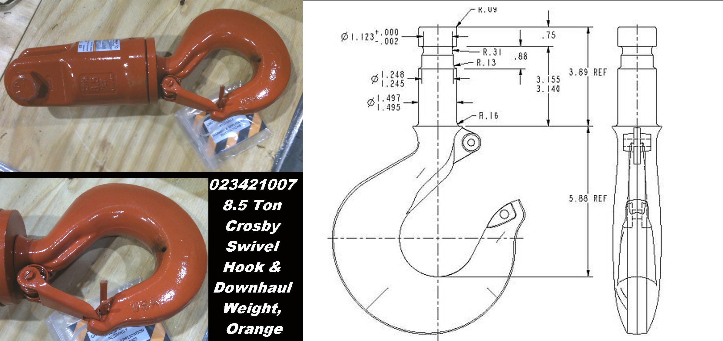 crosby 297413 8 s 1 jaw \u0026 hook (8 1 2 ton working load limit Crosby Hook Diagram