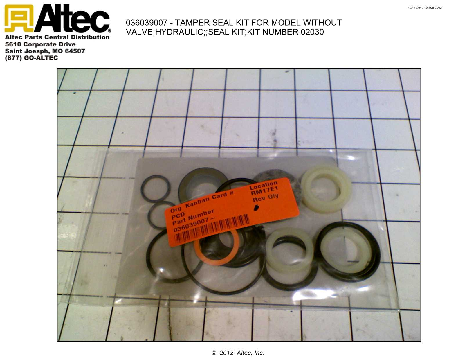 Stanley Hydraulic Tools 02030 Seal Kit for Stanley Hydraulic