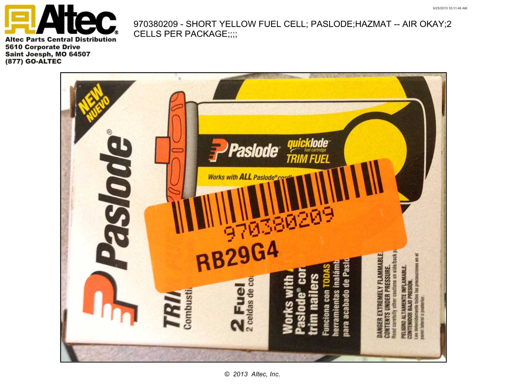 Paslode 816007 Universal Trim Yellow Fuel Cell 2 Pack