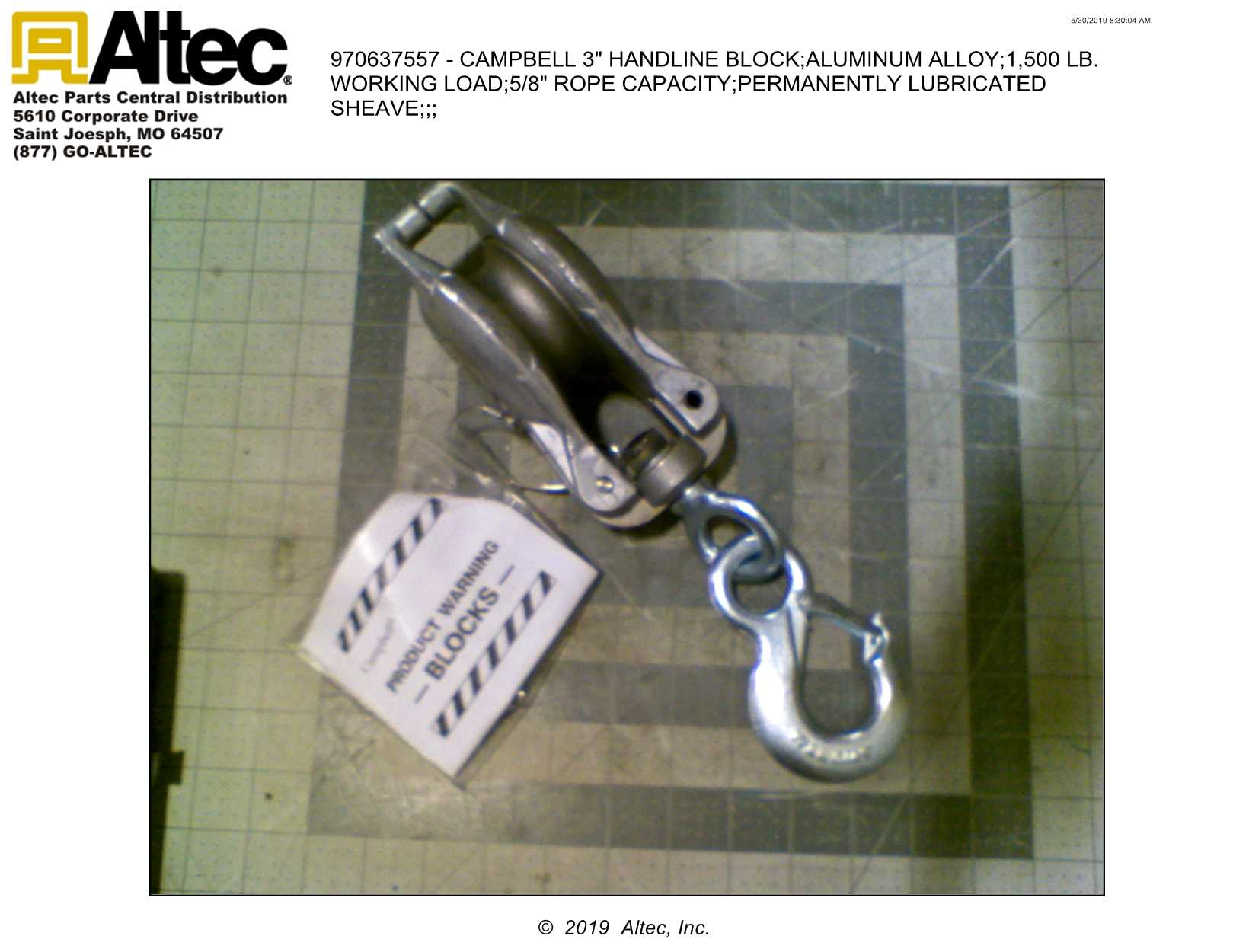 Campbell 3101G 2 Single Nylon Shell Block with Loose Swivel G Latch Hook 3//8-1//2 Rope 2 Sheave 500 lbs Load Capacity